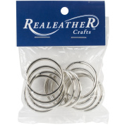 Realeather Crafts Split Key Rings (10 Pack), 3.2cm , Nickel