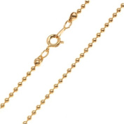 22K Gold Plated 2mm Ball Chain Necklace With Clasp - 18 Inches