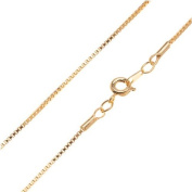 22K Gold Plated Venetian Box Chain Necklace With Clasp - 41cm