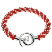 Spiral Beaded Kumihimo Bracelet (Red/Cryst) - Exclusive Beadaholique Jewellery Kit