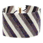 Diagonal Striped Peyote Bracelet (Prpl/Crm) - Exclusive Beadaholique Jewellery Kit