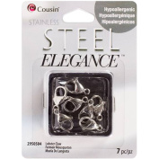 Stainless Steel Elegance Beads & Findings-Lobster Claw Clasp 7/Pkg