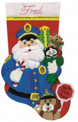 Policeman Santa Stocking Felt Applique Kit, 46cm Long