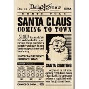 Inkadinkado Christmas Mounted Rubber Stamp 7cm x 10cm -Santa Claus News