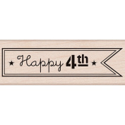 Hero Arts Mounted Rubber Stamp 9.5cm x 3.2cm -Happy 4th Flag