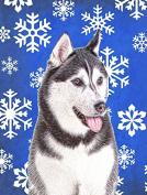 Winter Snowflakes Holiday Alaskan Malamute Flag Garden Size KJ1175GF