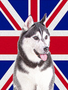 Alaskan Malamute with English Union Jack British Flag Flag Garden Size KJ1161GF