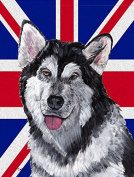 Alaskan Malamute with English Union Jack British Flag Flag Canvas House Size SC9815CHF