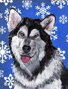 Alaskan Malamute Winter Snowflakes Holiday Flag Canvas House Size SC9491CHF
