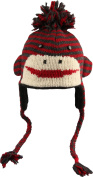 Youth/Adult Red/Charcoal Cute Stripe Sock Monkey Pilot Hat by Knitwits - A1329RC, One Size