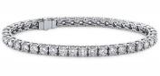 9.50 ct Ladys Round Cut Diamond Tennis Bracelet In 14 Karat White Gold