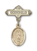 ReligiousObsession's Gold Filled Baby Badge with Our Lady of Guadalupe Charm and Godchild Badge Pin