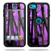 Mightyskins Protective Vinyl Skin Decal Cover for OtterBox Defender Apple iPod Touch 5G 5th Generation Case Purple Tree Camo