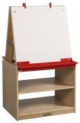 ECR4KIDS 2 Station Art Easel with Storage - Birch