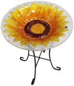 Continental Art Centre CAC8ES15328 Bird Bath Glass Bowl, 33cm by 5.1cm , Sunflower Yellow