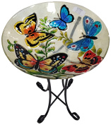 Continental Art Centre CAC2609450 Deep Hand Painted Glass Plate, 46cm by 7.6cm , Butterflies