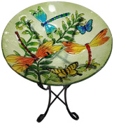 Continental Art Centre CAC2608790 Deep Hand Painted Glass Bowl, 46cm by 7.6cm , Dragonfly and Butterfly