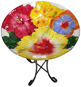 Continental Art Centre CAC2609490 Deep Hand Painted Glass Plate, 46cm by 7.6cm , Hibiscus Flower