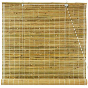 Oriental Furniture Burnt Bamboo Roll Up Blinds - Natural -