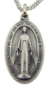 Silver Tone 3.8cm Oval Virgin Mother Mary Madonna Miraculous Medal