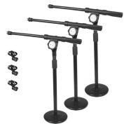 Podium Pro Tabletop Boom Microphone Stands Mic EZ Clips Adjustable DJ Drum 3 Stand Set MS4MC2-3S