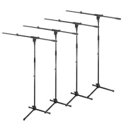 Podium Pro Adjustable Steel Microphone Stands with Booms and Tripod Bases 4 Mic Stand Set MS2SET3-4S