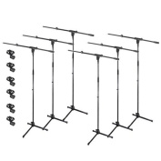 Podium Pro Adjustable Steel Microphone Stands with Booms and EZ Mic Clips 6 Stand Set MS2SET5-6S