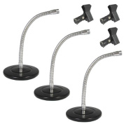 Podium Pro Tabletop Microphone Stands and Mic Clamp Clips Gooseneck DJ Podcast 3 Stand Set MS3MC1-3S
