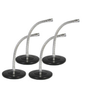 Podium Pro MS3 Tabletop Microphone Stands Gooseneck DJ Podcast Recording 4 Mic Stand Set MS3-4S