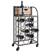 Wood and Metal Wine Rack with Wheels