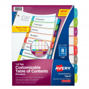 Avery Dennison Ready Index Table of Contents Dividers, 8-Tab Set 11841