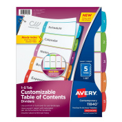 Avery Dennison Ready Index Table of Contents Dividers, 5-Tab Set 11840