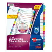 Avery Dennison Ready Index Table of Contents Dividers, 1-15 Tabs 11845