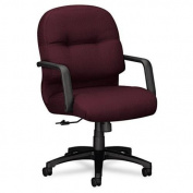 HON 2090 Pillow-Soft Managerial Mid-Back Swivel/Tilt Chair, Wine Fabric/Black Base 2092NT69T