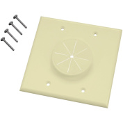 MIDLITE 7.6lGR2 Double-Gang Wireport Wall Plate with Grommet, Almond