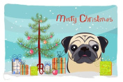 Christmas Tree and Fawn Pug Fabric Standard Pillowcase BB1634PILLOWCASE