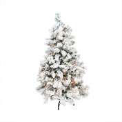 2.7m Pre-Lit Heavily Flocked Pine Medium Artificial Christmas Tree - Clear Lights