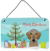 Christmas Tree and Wirehaired Dachshund Wall or Door Hanging Prints BB1605DS812