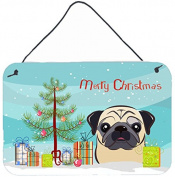 Christmas Tree and Fawn Pug Wall or Door Hanging Prints BB1634DS812