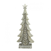 44cm Vintage Inspired Distressed Cream and Taupe Christmas Tree Table Top Decoration