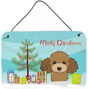 Christmas Tree and Chocolate Brown Poodle Wall or Door Hanging Prints BB1628DS812