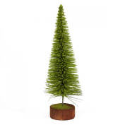 41cm Moss Green Pine Artificial Village Christmas Tree with Wood Base - Unlit