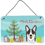 Christmas Tree and Tricolour Corgi Wall or Door Hanging Prints BB1627DS812
