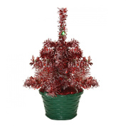 20cm LED Lighted Battery Operated Table Top Red Tinsel Potted Christmas Tree - Green Lights