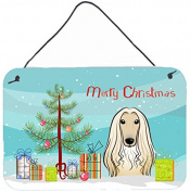 Christmas Tree and Afghan Hound Wall or Door Hanging Prints BB1616DS812