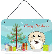 Christmas Tree and Longhair Creme Dachshund Wall or Door Hanging Prints BB1584DS812