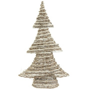 47cm Winter Light Brown and White Glittered Rattan Decorative Christmas Tree - Unlit