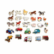 T.S. Shure Farm Animals, Horses and Vehicles Wooden Magnetic Playboard Set