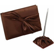 Lillian Rose GB412 BR Brown Sash Guest Book And Pen Set