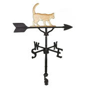 Montague Metal Products 80cm Weathervane with Gold Cat Ornament